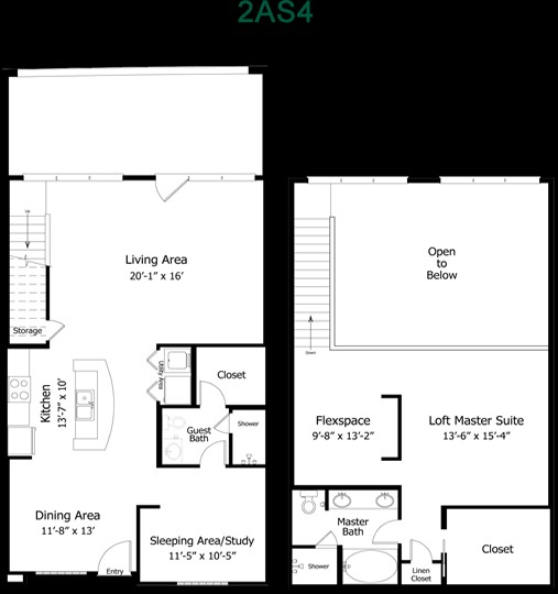 1,493 sq. ft. to 2,050 sq. ft. 4B2THGG floor plan