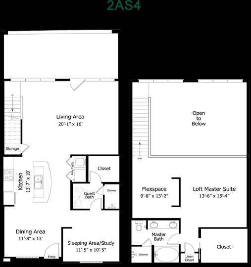 1,493 sq. ft. to 2,050 sq. ft. 4B2THGG floor plan