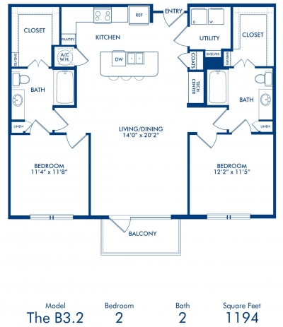 1,194 sq. ft. B3.2 floor plan