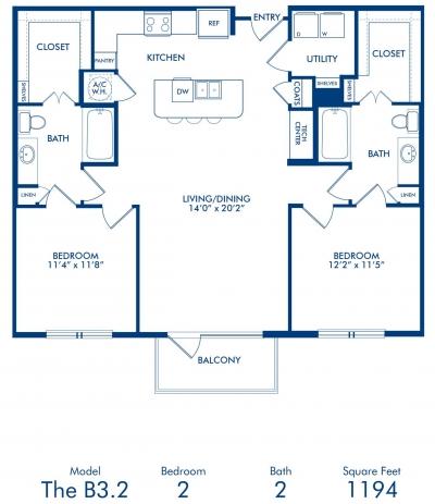 1,194 sq. ft. B3.2 floor plan