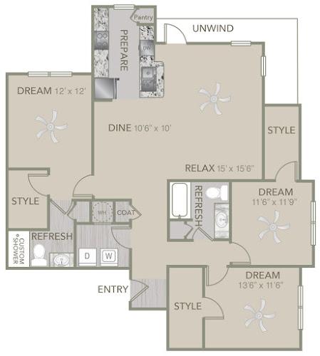 1,469 sq. ft. C2 floor plan