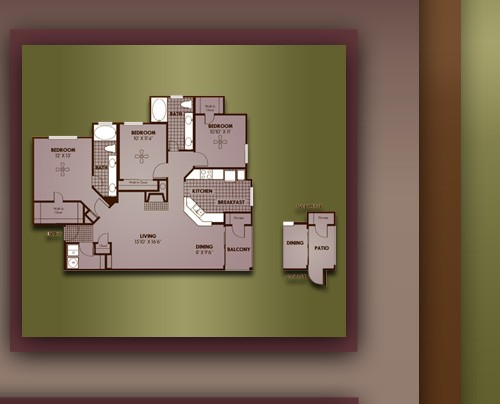 1,367 sq. ft. C1/WILSHIRE floor plan