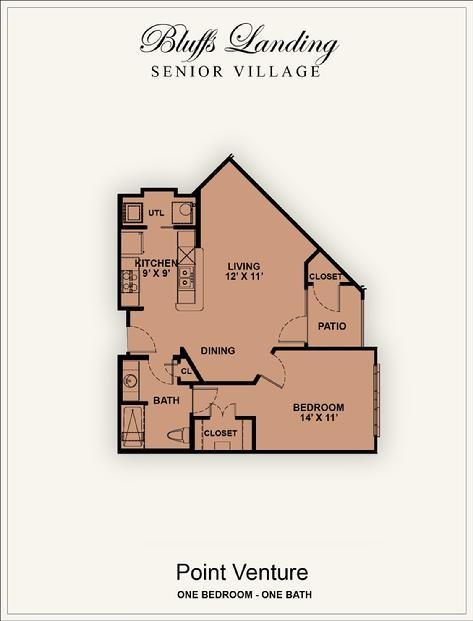 733 sq. ft. 50% floor plan