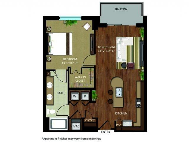 830 sq. ft. A11 floor plan