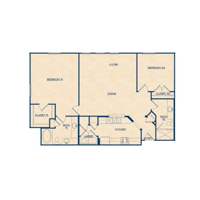 1,340 sq. ft. B6 floor plan