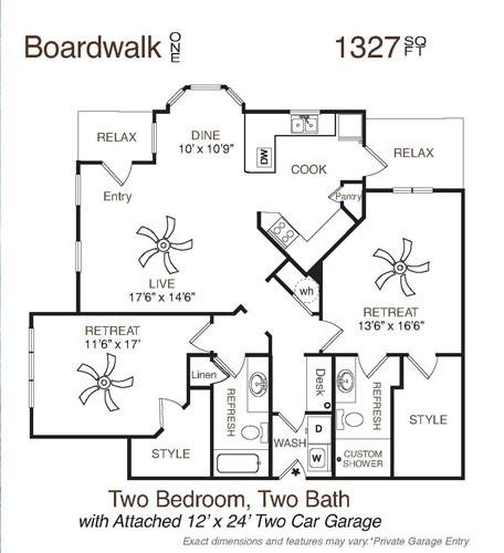 1,327 sq. ft. Boardwalk One floor plan