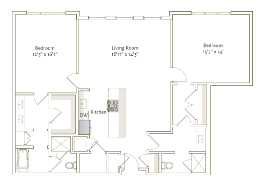 1,370 sq. ft. B4-1 floor plan