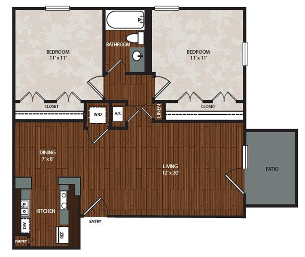 839 sq. ft. B1 floor plan