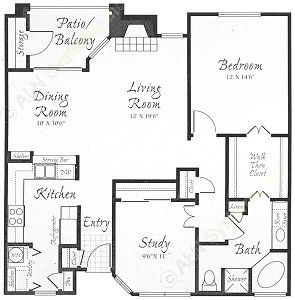 1,118 sq. ft. A3 floor plan