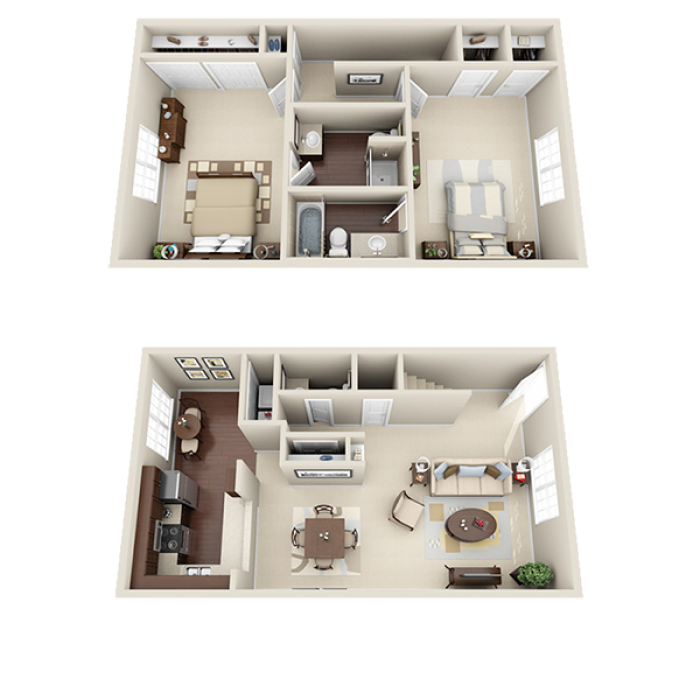 1,400 sq. ft. D floor plan