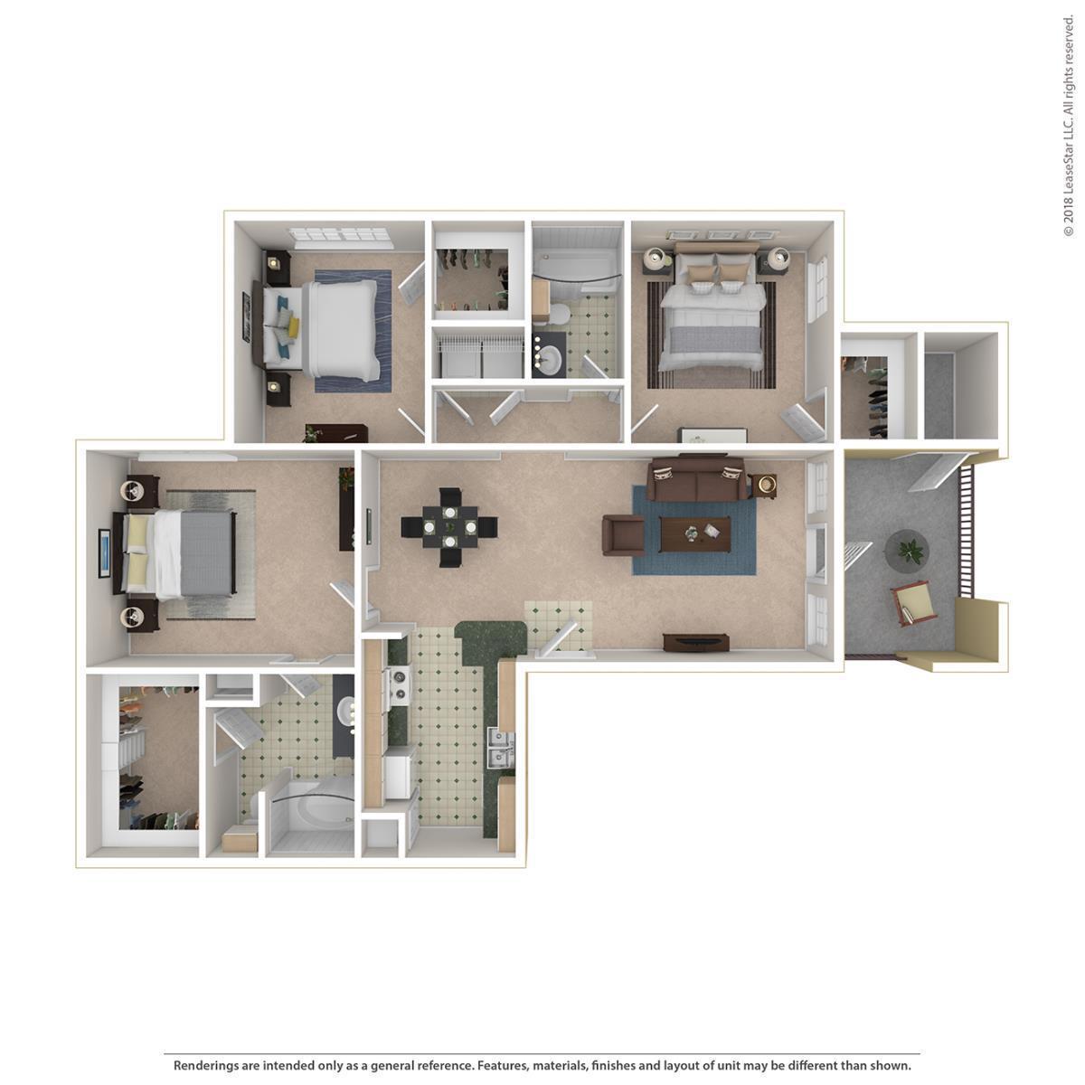 1,304 sq. ft. Wellington floor plan