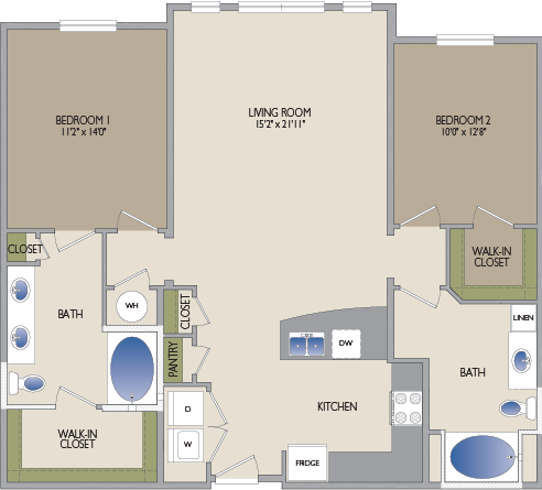 1,250 sq. ft. University floor plan
