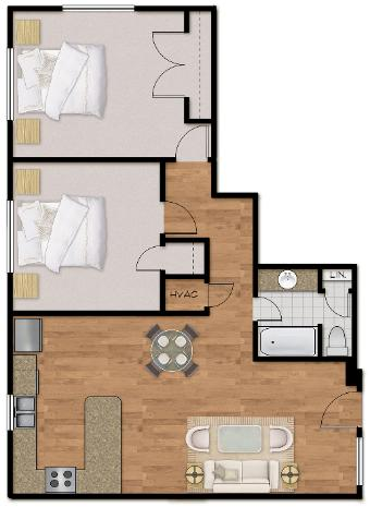 926 sq. ft. Plan C floor plan