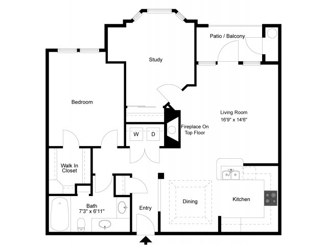 999 sq. ft. A7 floor plan