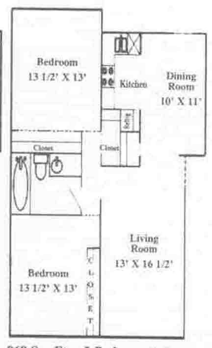897 sq. ft. B-1 floor plan