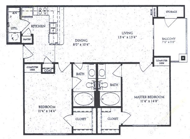 1,068 sq. ft. B-2 floor plan