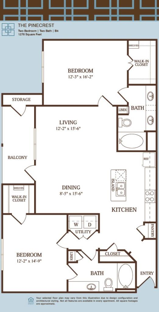 1,276 sq. ft. B4/PINECREST floor plan