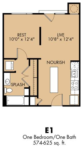 574 sq. ft. E1x floor plan