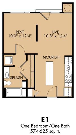 574 sq. ft. A1x floor plan