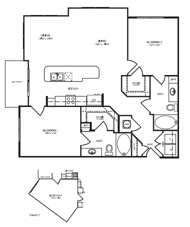 1,150 sq. ft. to 1,242 sq. ft. Wellsford floor plan