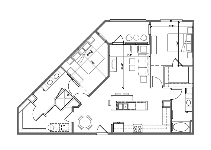 1,157 sq. ft. B2 floor plan
