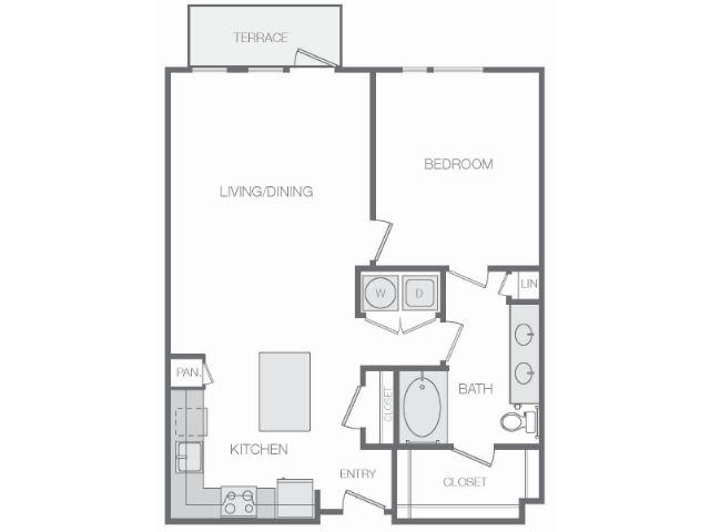 871 sq. ft. to 884 sq. ft. floor plan