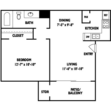 546 sq. ft. RIVERIA floor plan