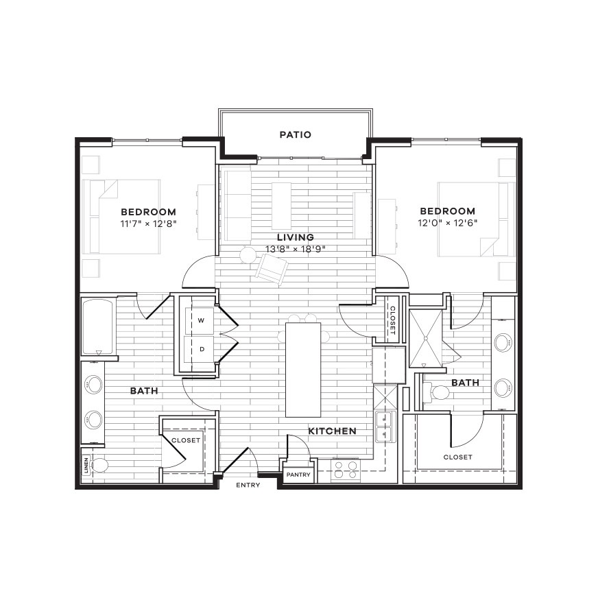 1,122 sq. ft. 2B floor plan