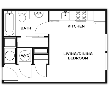 369 sq. ft. Messina floor plan
