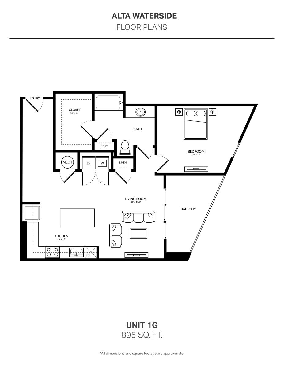 895 sq. ft. 1G floor plan