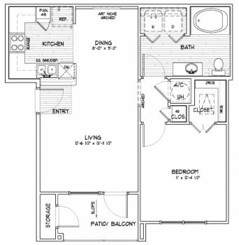 713 sq. ft. A SUN floor plan