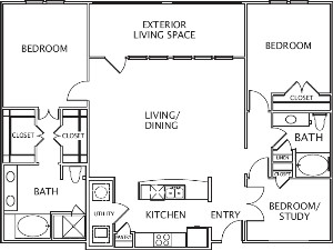 1,600 sq. ft. Accacia floor plan