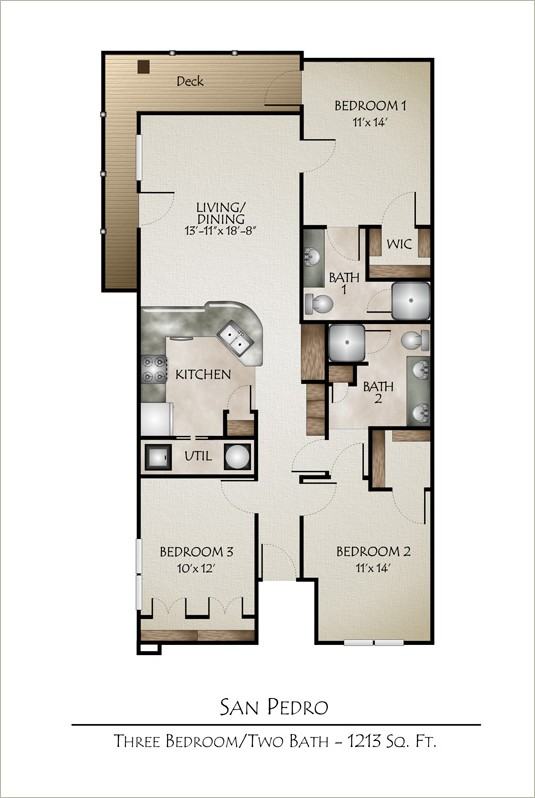 1,183 sq. ft. SAN PEDRO floor plan