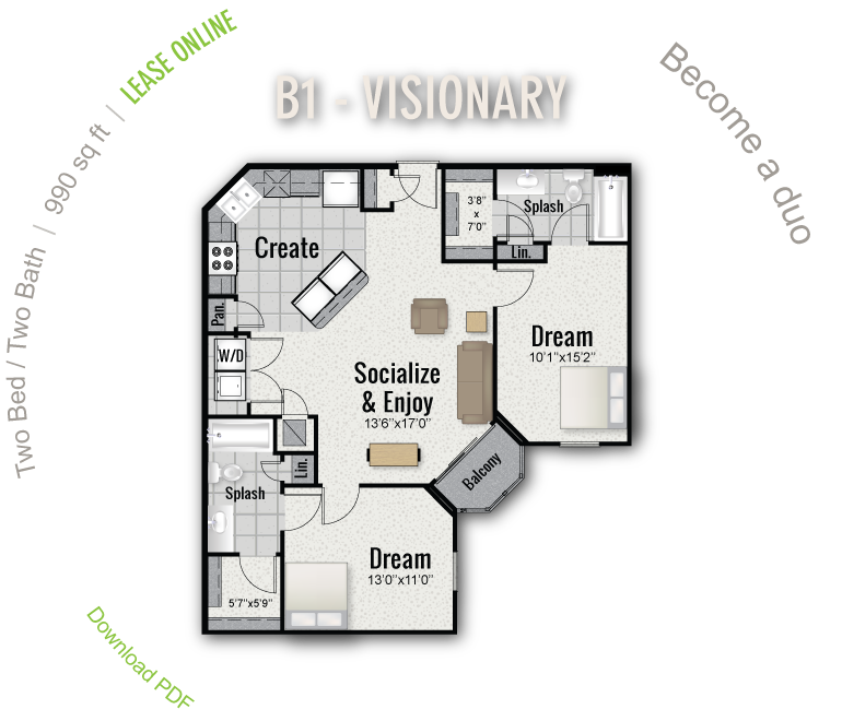 990 sq. ft. B1 floor plan