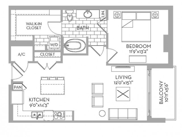 846 sq. ft. Douglas(A.2) floor plan