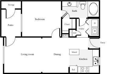 660 sq. ft. Freeman floor plan