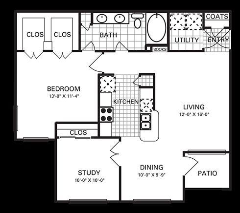 966 sq. ft. A7 PH II floor plan