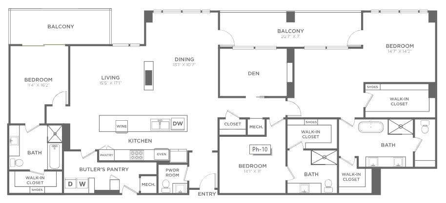 2,881 sq. ft. PH10 floor plan