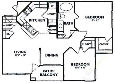 724 sq. ft. A2 floor plan