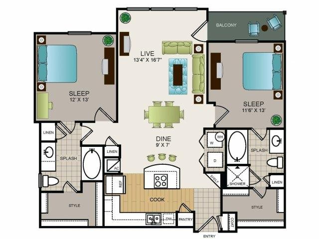 1,143 sq. ft. B1 floor plan