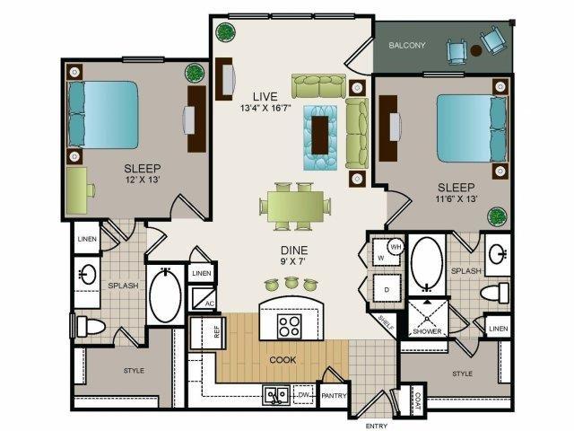 1,143 sq. ft. B1 floor plan