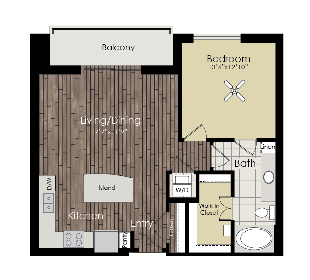 796 sq. ft. A4 floor plan