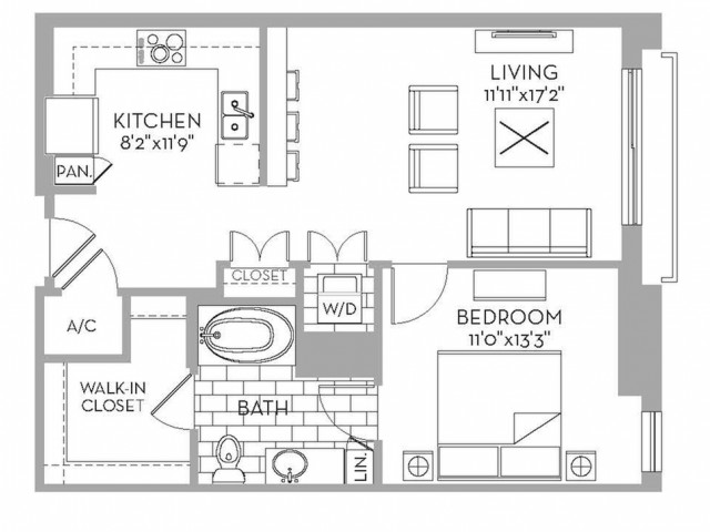 766 sq. ft. Royal(A.6) floor plan