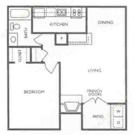 663 sq. ft. floor plan