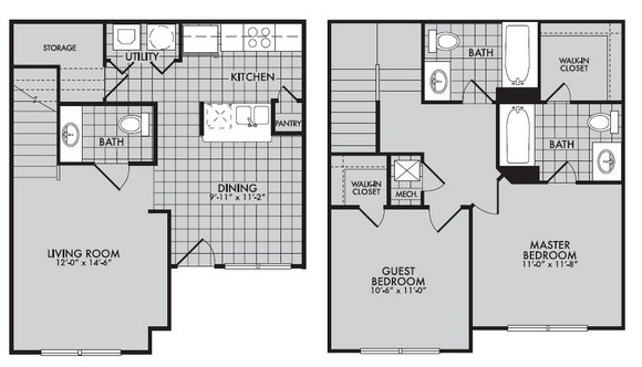 1,027 sq. ft. to 1,128 sq. ft. 60% floor plan