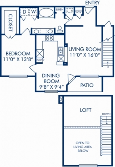 1,036 sq. ft. K floor plan