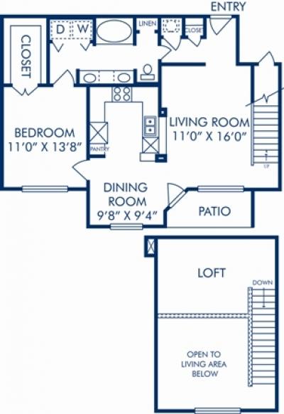 1,036 sq. ft. K floor plan