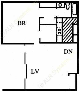 701 sq. ft. C floor plan