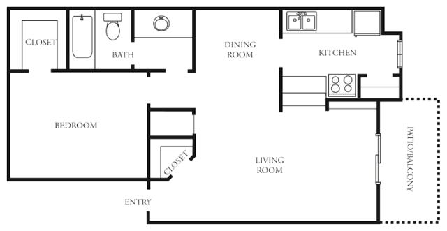 665 sq. ft. to 681 sq. ft. C floor plan