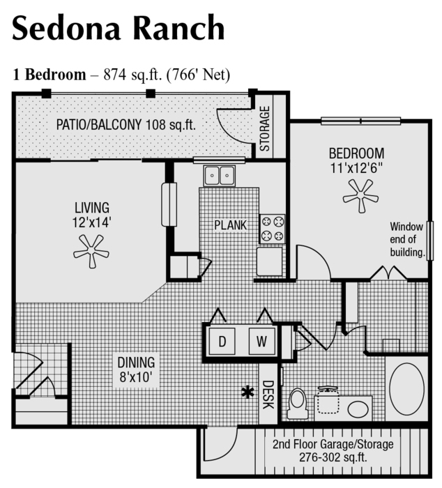 766 sq. ft. to 874 sq. ft. floor plan